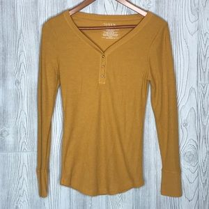 Time and Tru Yellow Henley Small
